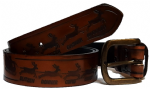 "Santa and his Reindeer Embossed Full Grain Leather Belt - 1½"" (38mm) Wide. Design: REINDEER1"